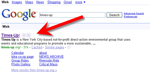 image of google search results for times-up with up arrow and x