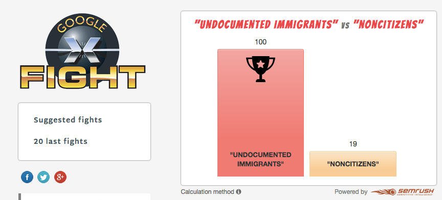 "screenshot of googlefight with ""Undocumented immigrants"" beating ""noncitizens"""